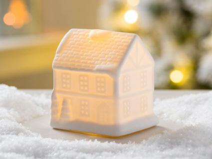 LED Haus LEVI weiß mit Licht 10 cm Weihnachten Deko Objekt beleuchtet