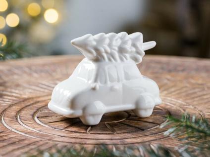 Bloomingville Auto mit Baum Porzellan weiß Figur 10 cm Weihnachtsdeko Tischdeko
