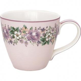 Greengate Becher MARIE DUSTY ROSE Rosa Tasse mit Blumen Porzellan 300 ml