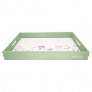 Greengate Tablett THILDE Grün Weiß 31x45 cm Serviertablett Holz