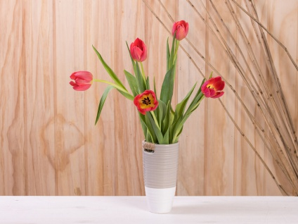 Vase ELLA taupe weiß 17 cm Keramik Blumenvase Skandinavische Deko
