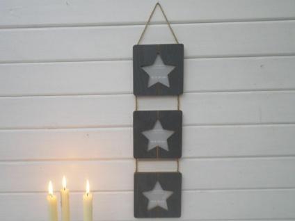 Bilderrahmen Houston grau Stern für 3 Fotos 10x10 Holz 13x60 cm Fotorahmen Bildh