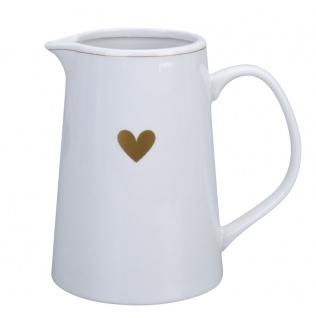 Krasilnikoff Kanne mit HERZ in Gold Porzellan Krug 800 ml Karaffe Weiß