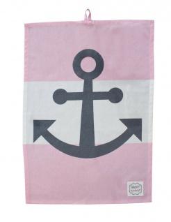 Krasilnikoff Geschirrtuch Anker rosa weiß Streifen maritime Deko Geschirrhandtuc
