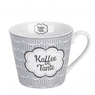 Krasilnikoff Happy Cup Becher KAFFEE TANTE Tasse 300 ml Porzellan Geschirr Grau