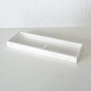 Deko Tablett ANKER Holz Weiß Maritim Vintage 15 cm Rechteckig maritime Tischdeko