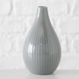 Vase IRMA Grau Keramik Blumenvase 18 cm groß Deko Design Klassik Tischdeko - Vorschau