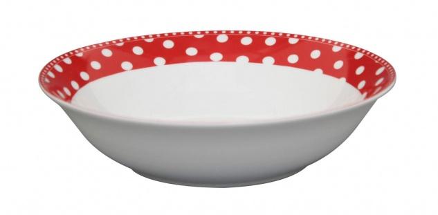 Krasilnikoff Salat Schale PUNKTE Rot Müslischale Porzellan Teller Suppenteller