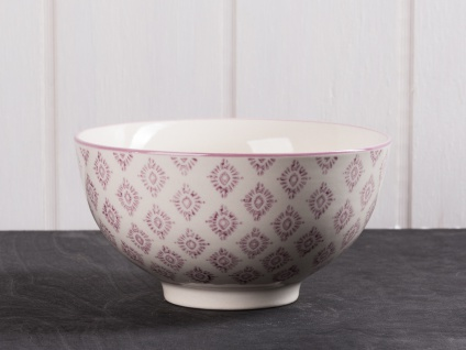 IB Laursen Schale Casablanca lila weiß groß Blumen Geschirr Keramik Schüssel