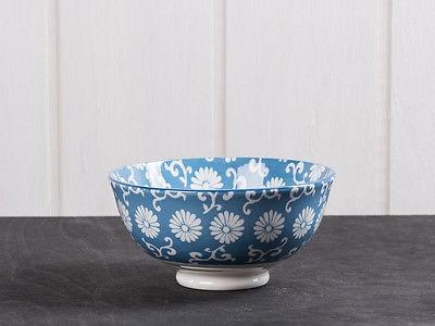 IB Laursen Schale LIVA klein staubig blau weiß Blumen Geschirr Müslischale Schüs