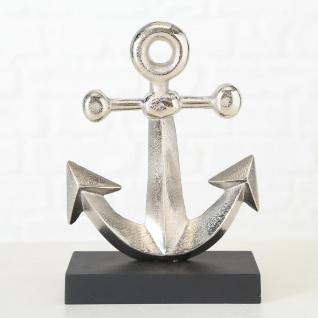 Deko ANKER Aufsteller Silber 21 cm Metall Maritime Deko Objekt Stockanker Segler