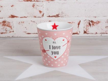 Krasilnikoff Happy Mug Becher PS I LOVE YOU Rosa pink Herzen weiß Stern rot