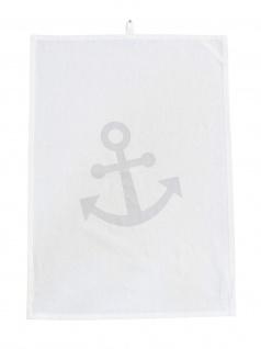 Krasilnikoff Geschirrtuch ANKER Weiß Silber Baumwolle Geschirrhandtuch Maritim