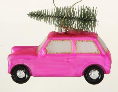 Tannenbaum Hänger Auto mit Baum auf Dach Rosa Pink Matt Glas 10cm Weihnachtsdeko
