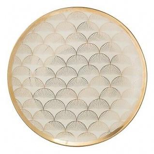Bloomingville Teller ARUBA creme gold Keramik Geschirr Essteller 25 cm Goldrand
