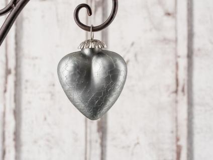 Hänger Herz SILVER Deko Hochzeiten Weihnachten Glas 7 cm silber mattiert schwer
