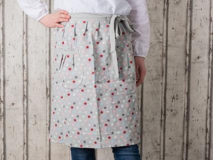 Krasilnikoff Küchenschürze STARS Multi grau Sterne bunt Kochenschürze Baumwolle
