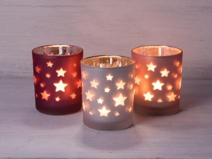 Windlicht Sterne rot Teelichthalter rot matt mit Sternen Teelicht Glas - Vorschau 2