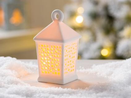 LED Laterne HALEA weiß 12 cm Porzellan Deko Objekt mit Licht