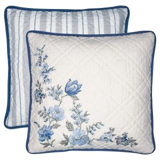 Greengate Kissen DONNA Blau 40x40 Kissenhülle Kissenbezug mit Blumen Baumwolle