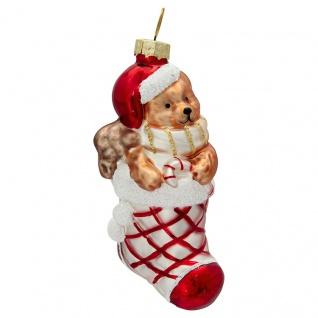Greengate Tannenbaumhänger Strumpf Rot mit Bär Weihnachtsmann Weihnachtskugel