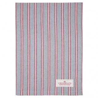 Greengate Geschirrtuch RILEY Grau Rot Streifen Baumwolle 50x70 Küchentuch