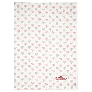 Greengate Geschirrtuch PENNY Weiß mit Herzen Baumwolle 50x70 cm Küchentuch