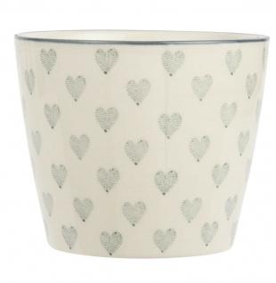 IB Laursen Becher Herz creme weiß groß Graue Herzen weiße Tasse Herz grau ohne H