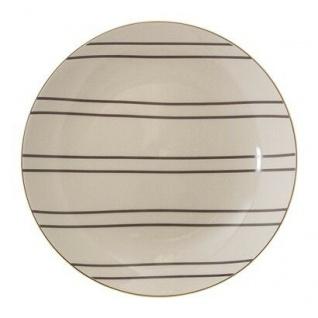 Bloomingville Teller Ava 20 cm Kuchenteller creme Streifen grau Goldrand Teller