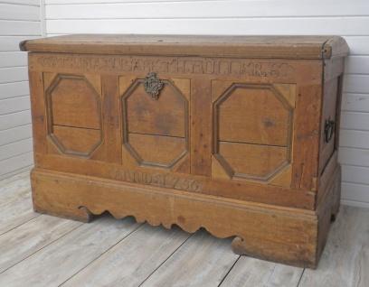 Holztruhe ANNO 1756 UNIKAT Aussteuertruhe 72x133 Truhe Holz Möbel Einzelstück