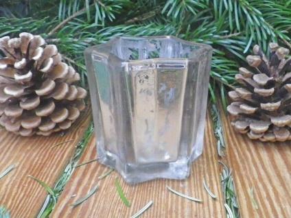Windlicht STAR Weiß 8 cm STERN Form Teelicht Glas Weihnachtsdeko Kerzenhalter - Vorschau 3