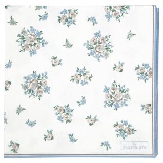 Greengate Servietten NICOLINE Weiß Blau Groß 20 Stck 33x33 Papier Serviette