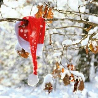 Ambiente Servietten LOST CAP Weihnachtsmann Mütze Schnee rot Weihnachten 20 Stk
