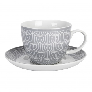 Krasilnikoff Tasse und Untertasse BLOSSOM Hellgrau 420ml Porzellan Geschirr Grau - Vorschau
