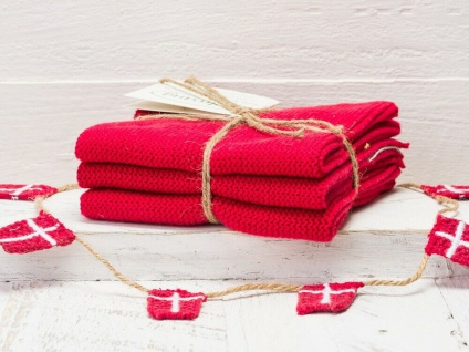 Solwang Wischtuch WARM ROT gestrickt 3er Set Küchentuch Spültuch Putztuch Lappen