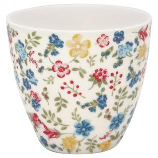 Greengate Latte Cup SOPHIA Weiss mit BLUMEN Rot Blau Gelb Kaffeebecher 300 ml