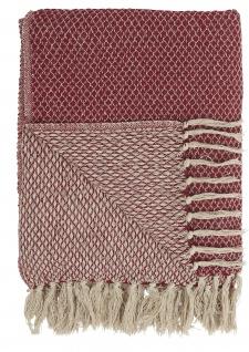 IB Laursen Plaid Rot Creme Decke Baumwolle 130x160 Wolldecke Kuscheldecke