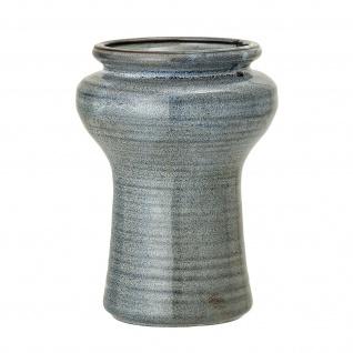 Bloomingville Vase Türkis Blau Keramik Rund 19 cm hoch Blumenvase Vintage Deko
