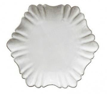 Bloomingville Teller CHATEAU weiß 18 cm Terracotta 6-eckig Verzierungen Deko Tab