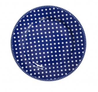 Krasilnikoff Essteller PUNKTE Dunkelblau Porzellan Teller 25 cm weiß blau