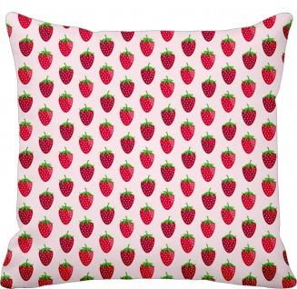 Krasilnikoff Kissen ERDBEERE Rosa Kissenhülle 50x50 Baumwolle rote Erdbeeren