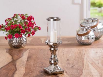Windlicht Glory 31 cm Fuß Silber Glas Zylinder Silberrand Kerzenständer Kerzenha