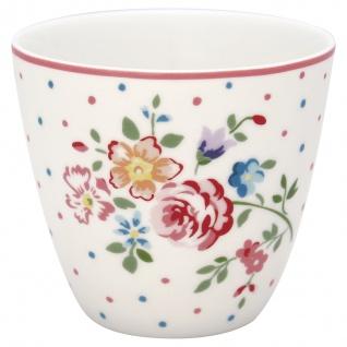 Greengate Latte Cup BELLE Weiss BLUMEN und Pünktchen Kaffeebecher 300 ml