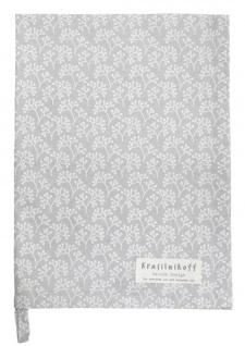 Krasilnikoff Geschirrtuch BERRIES Grau Weiß Baumwolle 50x70 Geschirrhandtuch