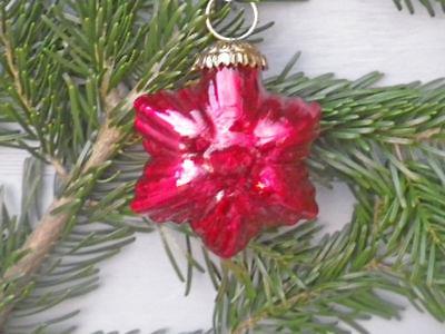 Hänger Stern Rubin rot glänzend Christbaum Schmuck Tannenbaumkugel Weihnachten