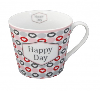 Krasilnikoff Tasse Happy Cup HAPPY DAY Herzen Becher Porzellan Kaffeebecher