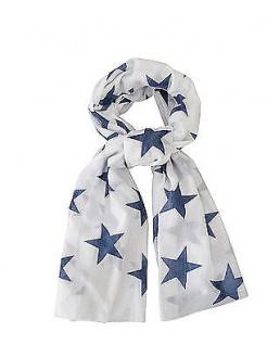 Krasilnikoff Halstuch Sterne weiß indigo blau. Schal. Tuch Baumwolle