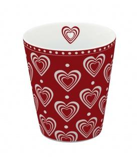 Krasilnikoff Becher Happy Mug Herzen 3D rot Tasse Porzellan Kaffeebecher