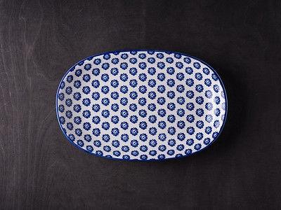 IB Laursen Teller LIVA oval blau weiß Blumen Geschirr Kuchenteller Obstschale Un