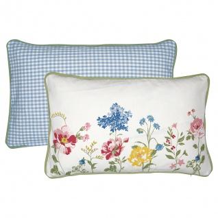 Greengate Kissen THILDE Baumwolle Kissenbezug 30x50 Kissenhülle Weiss mit Blumen